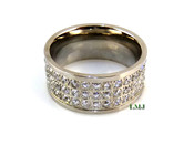 "Stainless Steel ""360 Triple Row Micro-Pave"" Lab Made Diamond Eternity Ring"