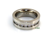 "Stainless Steel ""Classy 9"" Lab Made Diamond Eternity Ring"