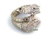 "925 Silver ""Double Dragon"" White Lab Made Diamond Ring"