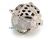 "925 Silver ""Panther Head"" White Lab Made Diamond CUSTOM Ring"