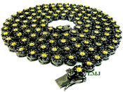 "1 Row 36"" Black and Yellow Lab Made Diamond 3D Cluster Chain (Clear-Coated)"