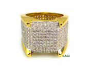 "Gold tone White Lab Made Diamond ""Fully Loaded 360 Royalty"" Ring (Clear-Coated)"