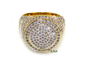 "Gold tone White Lab Made Diamond ""Capitol"" Ring (Clear-Coated)"