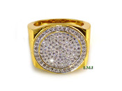 """Gold tone Lab Made Diamond """"Circle Arena"""" Ring (Clear-Coated)"""