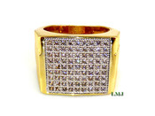 "Gold tone White Lab Made Diamond ""Square Arena"" Ring (Clear-Coated)"