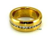 "Gold Stainless Steel ""360 Round Cut"" Lab Made Diamond Eternity Ring"