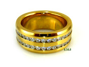 "Gold Stainless Steel ""360 Double Row Round Cut"" Lab Made Diamond Eternity Ring"