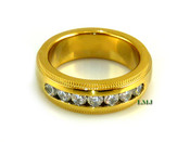 "Gold Stainless Steel ""Classy 7"" Lab Made Diamond Eternity Ring"