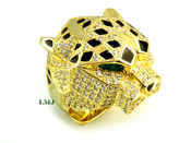"Gold tone 925 Silver ""Panther Head"" White Lab Made Diamond CUSTOM Ring"