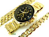 "COMBO DEAL! Gold Stainless Steel ""Business Man"" watch + 24"" Cuban Box Link 12mm Chain + 8.5"" Bracelet (Clear-Coated)"