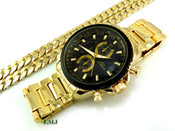 "COMBO DEAL! Gold Stainless Steel ""Business Man"" watch + 30"" Cuban Link 10mm Chain (Clear-Coated)"