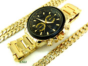 "COMBO DEAL! Gold Stainless Steel ""Business Man"" watch + 24"" Cuban Link 10mm Chain + 8.5"" Bracelet (Clear-Coated)"