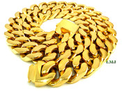 "24"" 18K Gold/Stainless Steel  ""392 GRAMS"" Thick Cuban Link Chain - 3/4"" wide (Clear-Coated)"