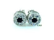 "925 Silver Black and White ""Cluster"" Micro-Pave Lab Made Diamond Earrings - 8mm"