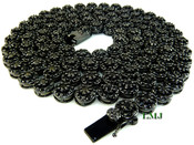 "1 Row 36"" All Black Lab Made Diamond 3D Cluster Chain (Clear-Coated)"