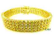 "4 Row Yellow Lab Made Diamond 8"" Tennis Bracelet (Clear-Coated)"