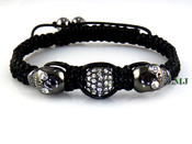 "White Crystal Beads and Black Skull ""Triple Stack"" Bead Bracelet (Clear-Coated)"