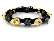 Grey Crystal Beads and Yellow Gold Skull Bead Bracelet  (Clear-Coated)