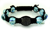 Aqua Blue/Black Single Bead Lab Made Diamond Disco Ball Bead Bracelet - Micro-Pave Setting (Clear-Coated)
