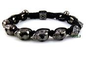 Black with Black Eyes Skull Bead Bracelet  (Clear-Coated)