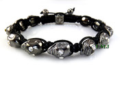 Black with White Eyes Skull Bead Bracelet  (Clear-Coated)
