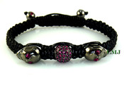 "Pink Crystal Beads and Black Skull ""Triple Stack"" Bead Bracelet (Clear-Coated)"