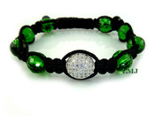 Emerald Green Single Bead Lab Made Diamond Disco Ball Bead Bracelet - Micro-Pave Setting (Clear-Coated)
