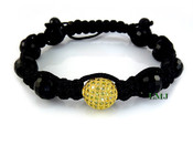 All Yellow Single Bead Lab Made Diamond Disco Ball Bead Bracelet - Micro-Pave Setting (Clear-Coated)