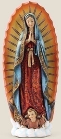 "Our Lady of Guadalupe Statue. Resin/Stone Mix. Dimensions: 7.25""H x 3""W x 1.5""D"