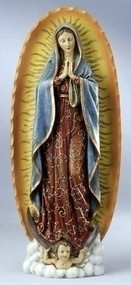 "Our Lady of Guadalupe 18.5"" Statue. Made of a Resin/Stone Mix. Dimensions: 18.5""H x 7.75""W  x 4.25""D"