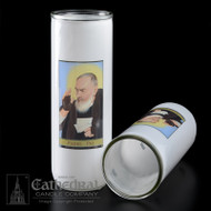 St. Padre Pio 3, 5/6/7 Day Reusable Glass Globe ~ Full color image, produced on highly durable film.  For use with Inserta Lites. Globes are sold Individually or by the case (Box of 12) - Please make selection. Inserta Lite Candles are purchased separately