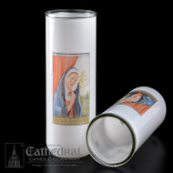 Immaculate Heart of Mary Reusable Glass Globe- 3, 5/6/7 Day Reusable Glass Globe ~ Full color image, produced on highly durable film.  For use with Inserta Lites. Globes are sold Individually or by the case (Box of 12) - Please make selection. Inserta Lite Candles are purchased separately