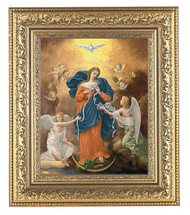 """12-1/2"""" x 14-1/2"""" Overall Dimensions.  2.5"""" Wide Facing to Fit a 8"""" x 10"""" Italian Lithograph Under Glass. """"Mary, Undoer of Knots,""""  Known in her German homeland as """"Maria Knotenlöserin, the artist was inspired by the true story of one German family's marital disunity, struggle, intercession, and powerful reconciliation.  Discovered and then expanded into a Marian devotion in the 1980's with the help of then - Father Jorge Mario Bergoglio, """"Mary, Undoer of Knots"""" is a favorite devotion of Pope Francis himself.  Pope Francis is well known for promoting the devotion to Our Lady Undoer of Knots which has been a source of healing and grace for countless families."""