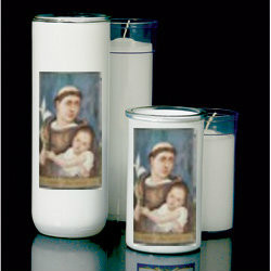 St. Anthony Reusable Glass Globe (candle inserts sold separately)-3, 5/6/7 Day Reusable Glass Globe ~ Full color image, produced on highly durable film.  For use with Inserta Lites. Globes are sold Individually or by the case (Box of 12) - Please make selection. Inserta Lite Candles are purchased separately