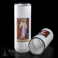 Divine Mercy Reusable Glass Globe-3, 5/6/7 Day Reusable Glass Globe ~ Full color image, produced on highly durable film.  For use with Inserta Lites. Globes are sold Individually or by the case (Box of 12) - Please make selection. Inserta Lite Candles are purchased separately