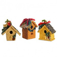 Decorative edible birdseed cottages--great gifts for friends and the birds. Trim a tree, set them on a mantel or out on a deck rail for your birds to enjoy. Each enchanting mini-cottage is decorated with bird-edible seeds and trim, including sunflower, millet, Nyjer and juniper. Each cottage is individually clear-wrapped. Size and design varies, about 4 x 6 inches. Each sold separately!