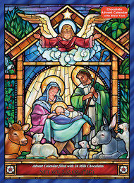 "Count down to Christmas with this chocolate Advent calendar featuring a beautiful Nativity scene rendered in stained glass. Prepare for Christmas by opening a window each day during Advent. Upon opening each window, find a wonderful piece of gourmet milk chocolate. Also find bible text that tells a part of the Nativity story. Each Advent calendar contains 2.6 ounces of chocolate and measures 10""x13 3/4"".  Chocolate Advent calendars may contain traces of peanuts, other nuts, gluten, egg and cereals."