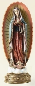 "Our Lady of Guadalupe 10.75"" Statue. Made of a Resin/Stone Mix. Dimensions: 11.75"" H x 4.75"" W x 4"" D"