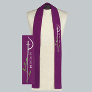 "Washable Reconciliation Stoles in three styles. Purple 3"" X 39"", Reversible Purple/White 3"" x 39"", and Reversible Ribbon Stole Purple/white 24"" x 1 1/2"""