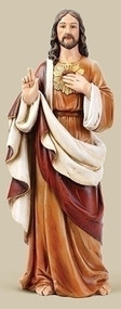 "Sacred Heart of Jesus Statue by Joseph Studio.  Resin/Stone Mix. Dimensions: 24""H x 9.25""W x 7""D"
