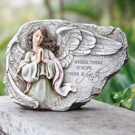 """8.25""H X 12""W Praying Angel Plaque: ""Where there is hope there is faith"" Hang in the garden or inside wall! Resin/stone mix"