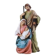 "4""H Holy Family Statue.Made of a Resin/Stone Mix. Dimensions: 4""H x 2""W x 1.625""D"