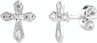 Sterling Silver Cubic Zirconium Cross Earrings