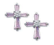 Pink Cubic Zirconium Earrings have surgical steel posts. Complements Cross (Item #130052)