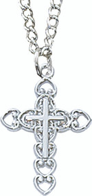 Girls Pewter Cross of Hearts Pendant (Also available in Sterling Silver Item L8002/16)