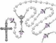Pearl and Pink Crystal Angel Rosary (160024)