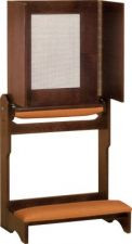 "Prie dieu has a wood or padded armrest and aluminum mesh screen. The dimensions are 30""W x  21""D;   with opened confessional panel: 59""H; with closed confessional panel: 32""H"