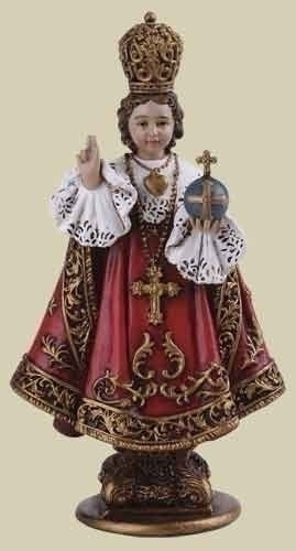 "4"" Infant of Prague Detailed Statue. Resin/Stone Mix. Dimensions: 4""H x 2.125""W x 1.375""D"