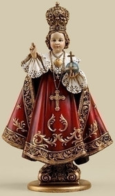 "Infant of Prague 7.75 Inch Statue. Infant of Prague Statue is made of a Resin/Stone Mix. The dimensions are: 7.75""H x 4.63""W x 2.75""D"