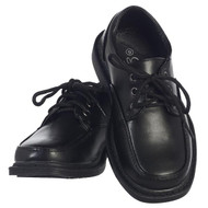 Boy's Black lace up matte shoes in various sizes.  Youth Sizes 13, 1,  2, 3,  4, and 5
